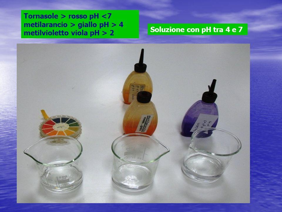 Tornasole > rosso pH giallo pH > 4 metilvioletto viola pH > 2 Soluzione con pH tra 4 e 7