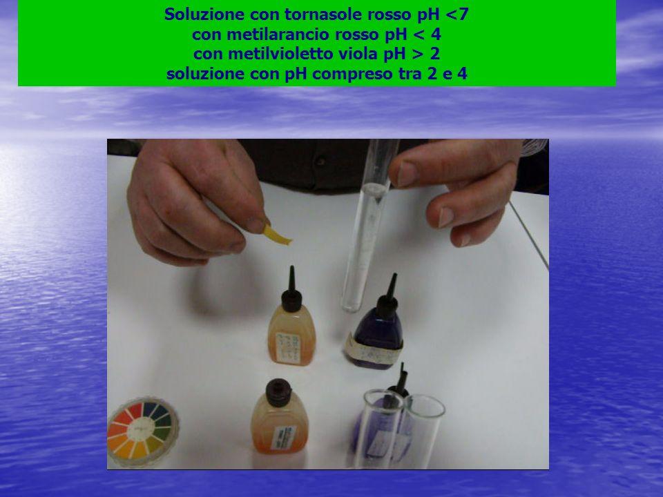 Soluzione con tornasole rosso pH 2 soluzione con pH compreso tra 2 e 4