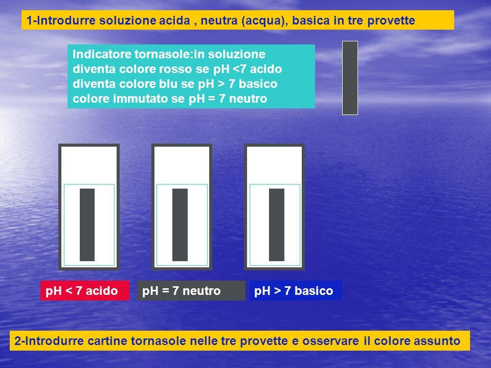 pH < 7 acidopH > 7 basicopH = 7 neutro Indicatore tornasole:in soluzione diventa colore rosso se pH 7 basico colore immutato se pH = 7 neutro 1-Introdurre soluzione acida, neutra (acqua), basica in tre provette 2-Introdurre cartine tornasole nelle tre provette e osservare il colore assunto