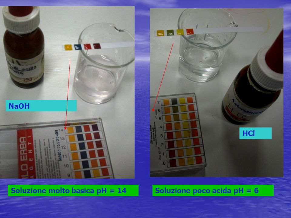 NaOH Soluzione molto basica pH = 14 HCl Soluzione poco acida pH = 6
