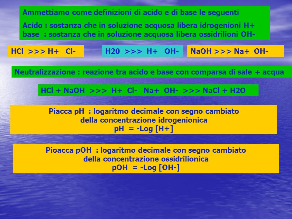 Ammettiamo come definizioni di acido e di base le seguenti Acido : sostanza che in soluzione acquosa libera idrogenioni H+ base : sostanza che in soluzione acquosa libera ossidrilioni OH- HCl >>> H+ Cl-NaOH >>> Na+ OH-H20 >>> H+ OH- Neutralizzazione : reazione tra acido e base con comparsa di sale + acqua HCl + NaOH >>> H+ Cl- Na+ OH- >>> NaCl + H2O Piacca pH : logaritmo decimale con segno cambiato della concentrazione idrogenionica pH = -Log [H+] Pioacca pOH : logaritmo decimale con segno cambiato della concentrazione ossidrilionica pOH = -Log [OH-]