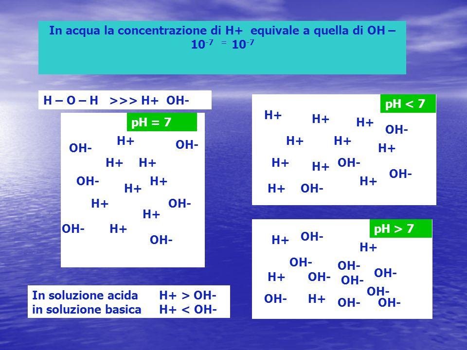 In acqua la concentrazione di H+ equivale a quella di OH – 10 -7 = 10 -7 H+ OH- H – O – H >>> H+ OH- In soluzione acida H+ > OH- in soluzione basica H+ < OH- H+ OH- pH = 7 pH < 7 H+ OH- pH > 7