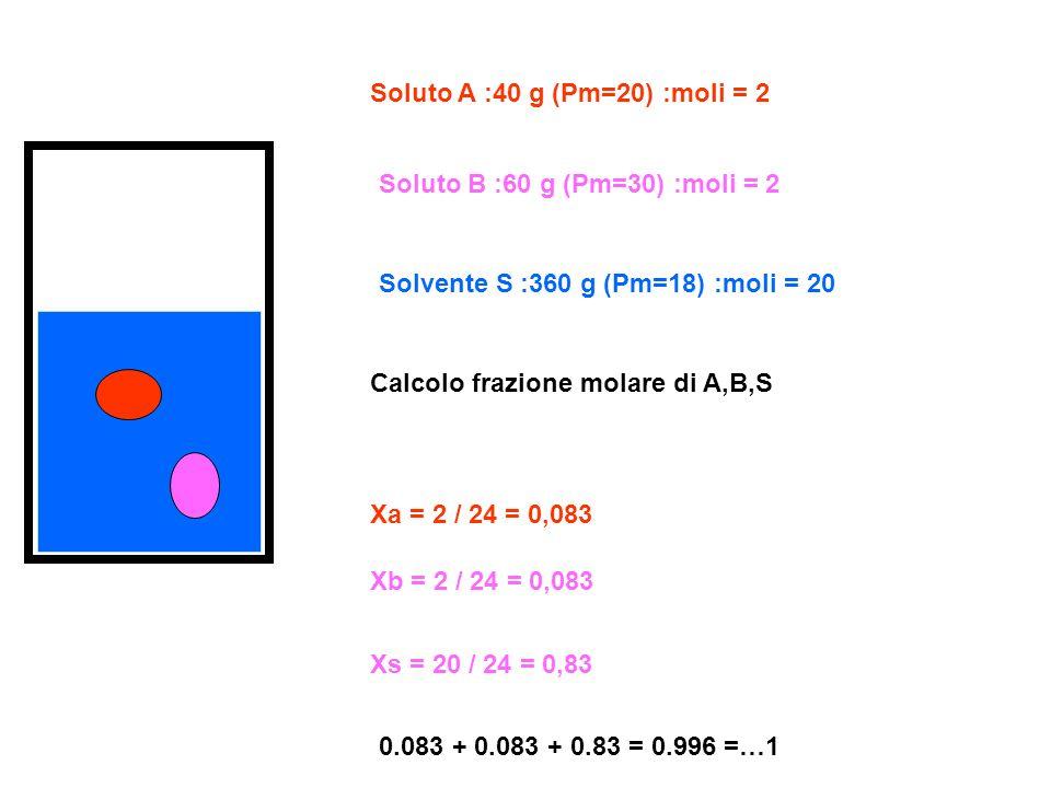 Soluto A :40 g (Pm=20) :moli = 2 Soluto B :60 g (Pm=30) :moli = 2 Solvente S :360 g (Pm=18) :moli = 20 Calcolo frazione molare di A,B,S Xa = 2 / 24 =