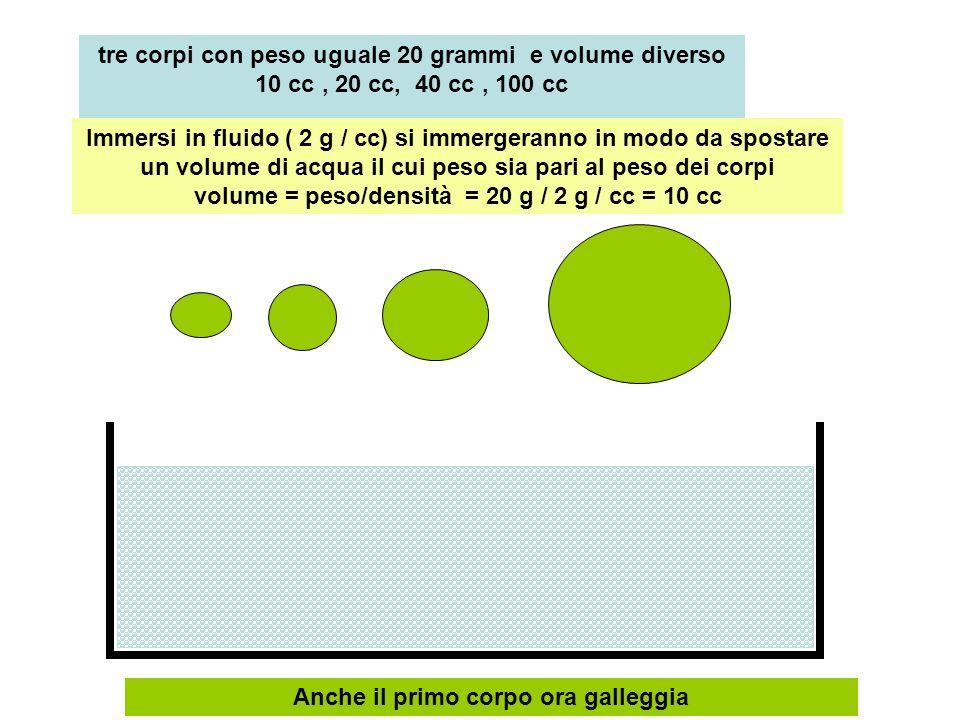 tre corpi con peso uguale 20 grammi e volume diverso 10 cc, 20 cc, 40 cc, 100 cc Immersi in fluido ( 2 g / cc) si immergeranno in modo da spostare un