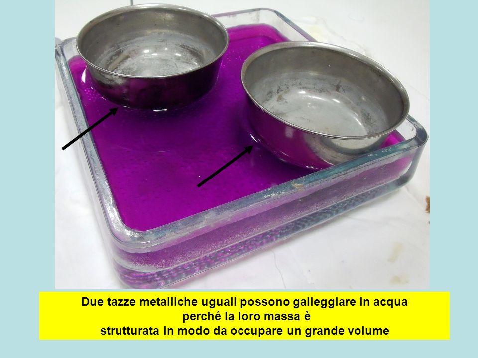 Due tazze metalliche uguali possono galleggiare in acqua perché la loro massa è strutturata in modo da occupare un grande volume