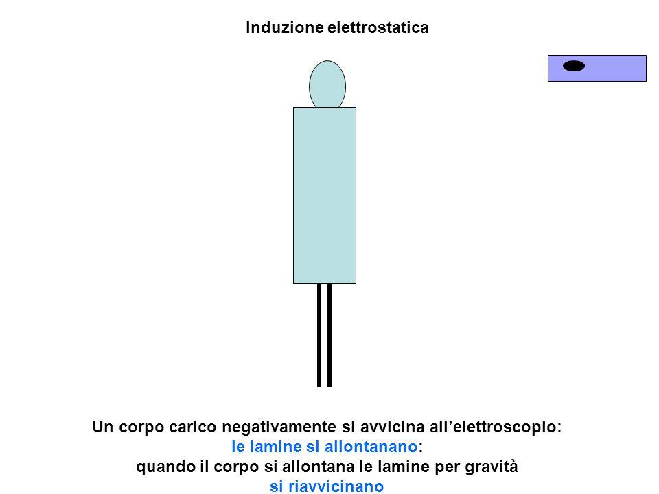 Un corpo carico negativamente si avvicina allelettroscopio: le lamine si allontanano: quando il corpo si allontana le lamine per gravità si riavvicina
