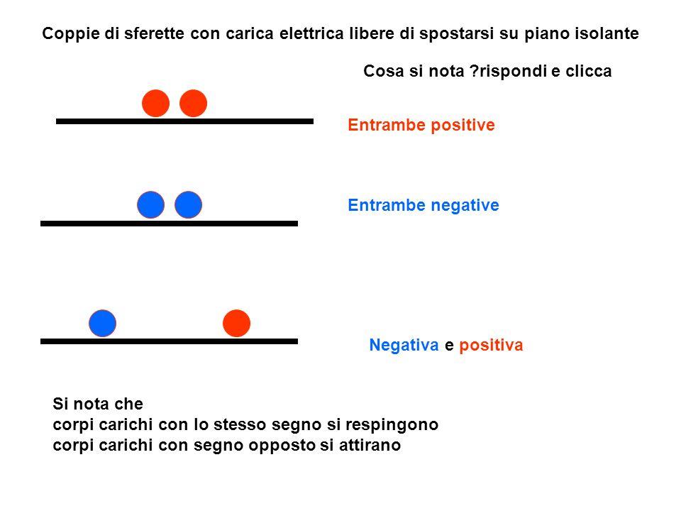 Coppie di sferette con carica elettrica libere di spostarsi su piano isolante Entrambe positive Entrambe negative Negativa e positiva Cosa si nota ?ri
