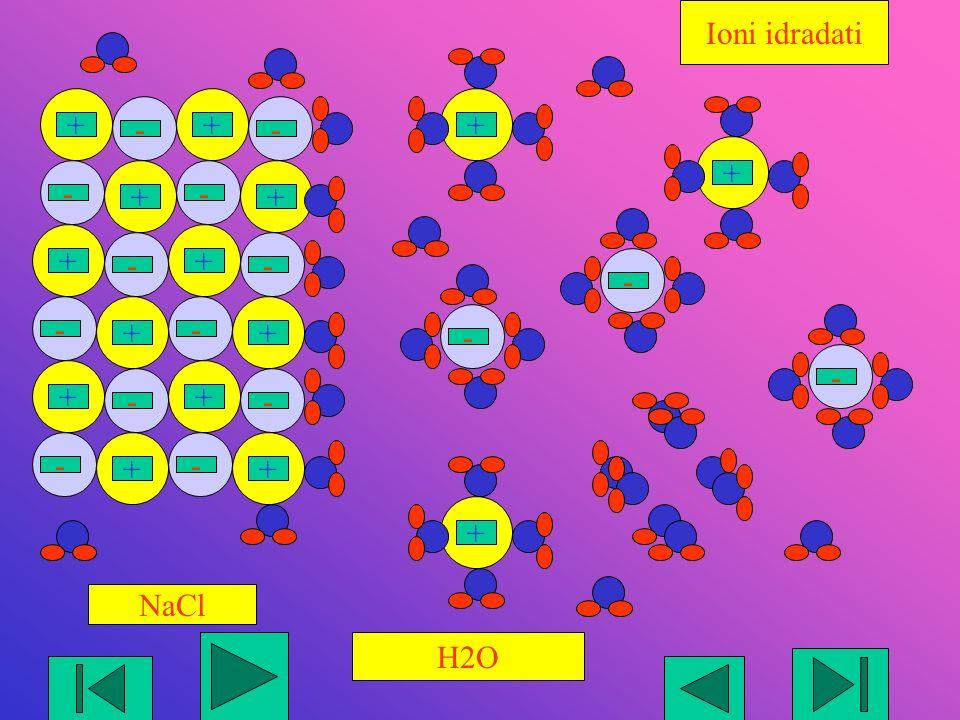 --- +++ + + + + -- -- + + + + -- -- + + + + -- -- H2O NaCl Ioni idradati