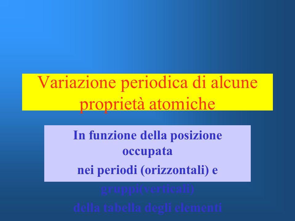 Variazione periodica di alcune proprietà atomiche In funzione della posizione occupata nei periodi (orizzontali) e gruppi(verticali) della tabella deg