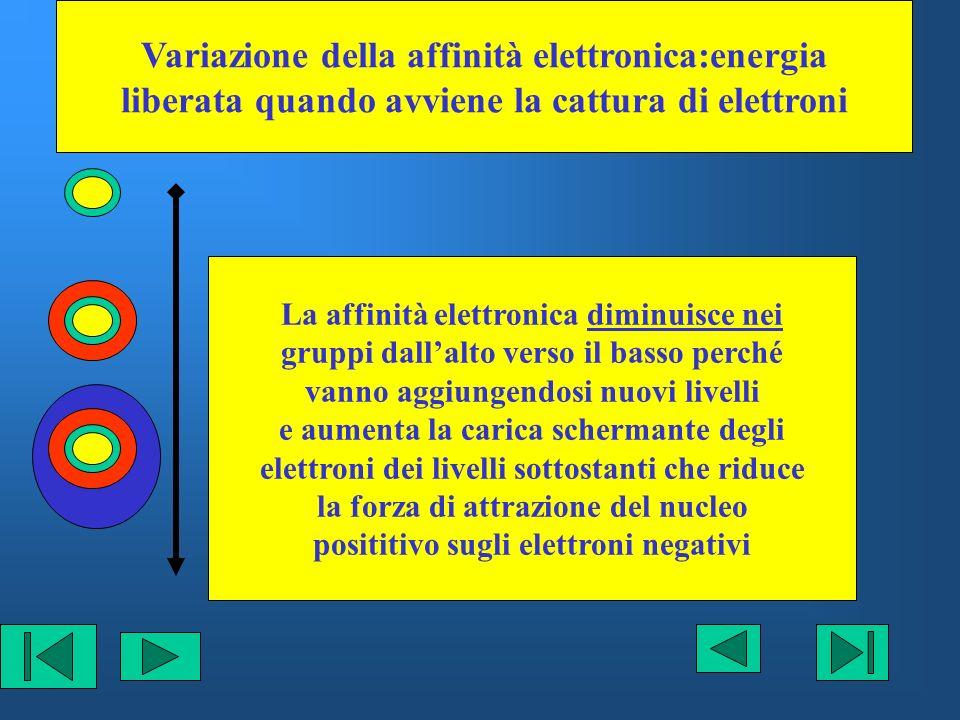 Variazione della affinità elettronica:energia liberata quando avviene la cattura di elettroni La affinità elettronica diminuisce nei gruppi dallalto v