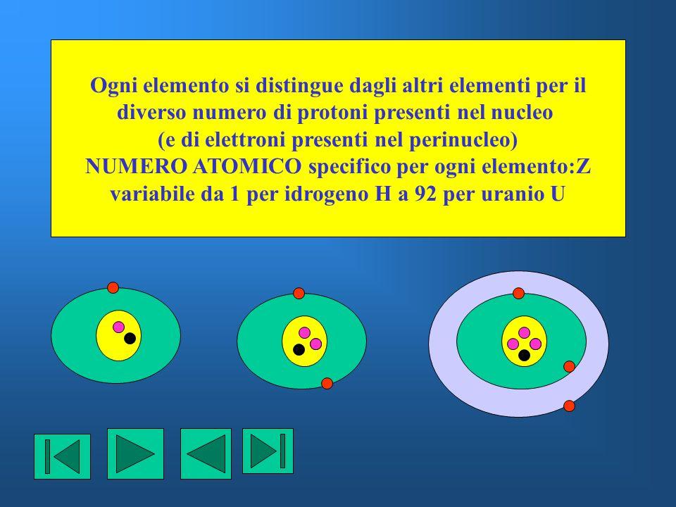 Ogni elemento si distingue dagli altri elementi per il diverso numero di protoni presenti nel nucleo (e di elettroni presenti nel perinucleo) NUMERO A