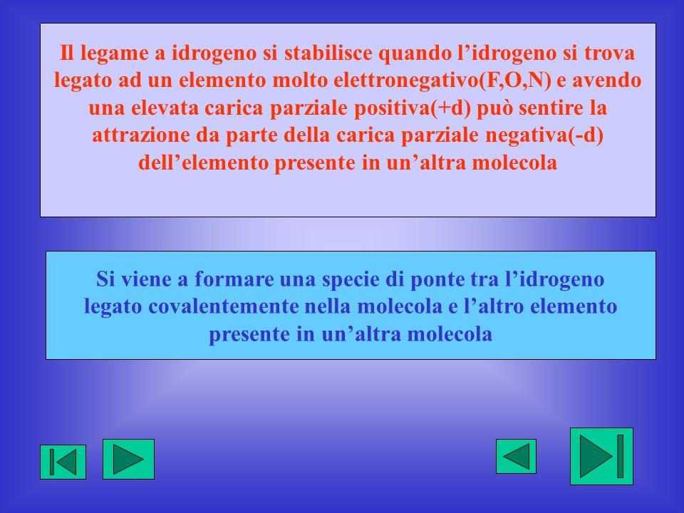 Il legame a idrogeno si stabilisce quando lidrogeno si trova legato ad un elemento molto elettronegativo(F,O,N) e avendo una elevata carica parziale p