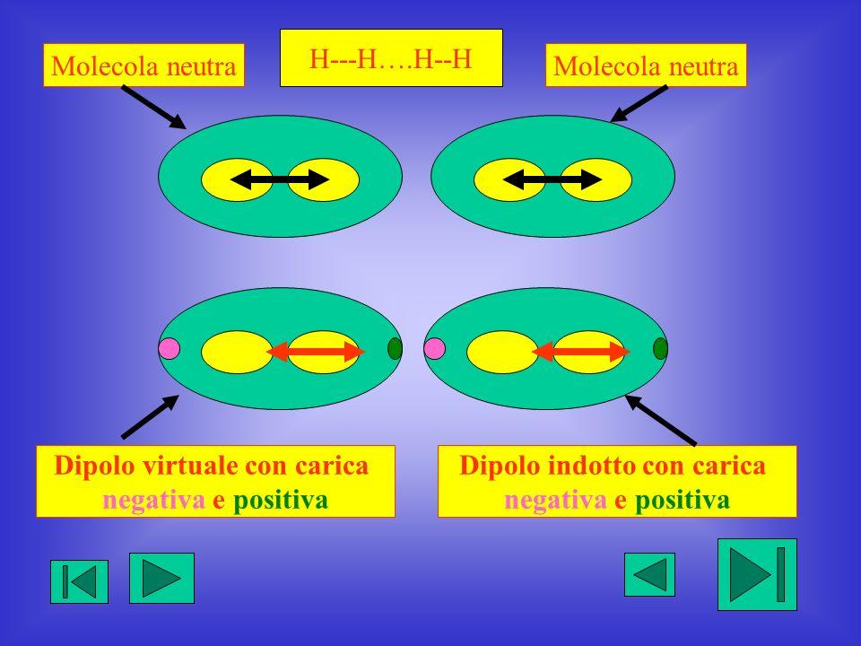 H---H….H--H Dipolo virtuale con carica negativa e positiva Dipolo indotto con carica negativa e positiva Molecola neutra