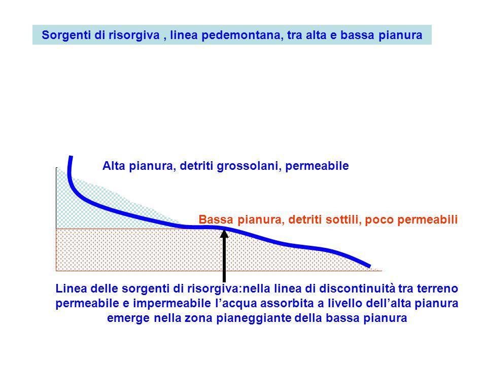 Alta pianura, detriti grossolani, permeabile Bassa pianura, detriti sottili, poco permeabili Linea delle sorgenti di risorgiva:nella linea di disconti