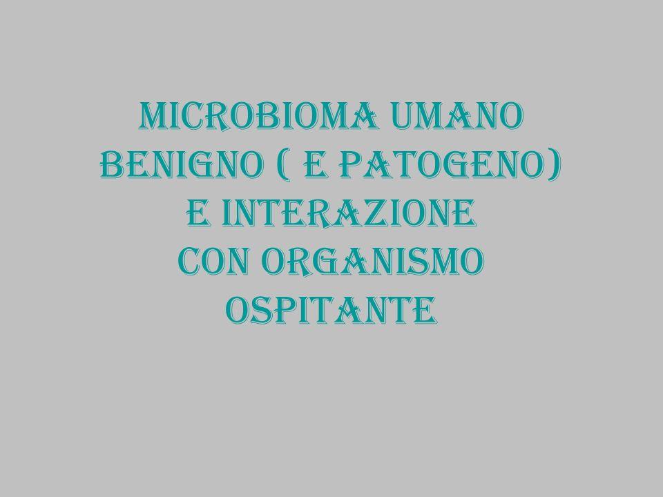 Microbioma : batteri (non patogeni) e loro genomi: rapporto con organismo umano cellule batteriche molto più numerose delle cellule dellorganismo umano Essendo lutero normalmente privo di batteri, il neonato risulta pure privo di batteri:viene colonizzato e acquista un proprio specifico microbioma al momento del parto, durante lallattamento, mediante i vari contatti con le persone e gli oggetti dellambiente nel quale si sviluppa Tutto lorganismo è colonizzato da varie specie di batteri: pelle, bocca, faringe, vie respiratorie, appararato digerente, tratto uro-genitale Ogni specie di batterio commensale è caratterizzato da una particolare versione di un gene per RNA ribosomiale (165): è possibile classificare la popolazione batterica con le sue diverse specie in funzione di tale RNA Il microbioma umano presenta circa 1000 specie diverse con 3.3 milioni di geni (i geni umani sono circa 25.000) Il microbioma è diverso in ogni individuo ( anche nei gemelli omozigotici) I batteri benefici possono diventare pericolosi se vengono a trovarsi in ambiente diverso da quello nel quale devono restare insediati(> setticemia..)