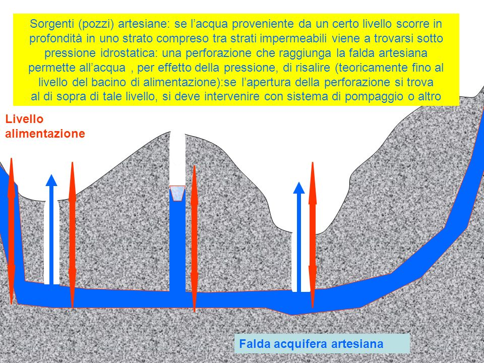 Sorgenti (pozzi) artesiane: se lacqua proveniente da un certo livello scorre in profondità in uno strato compreso tra strati impermeabili viene a trov