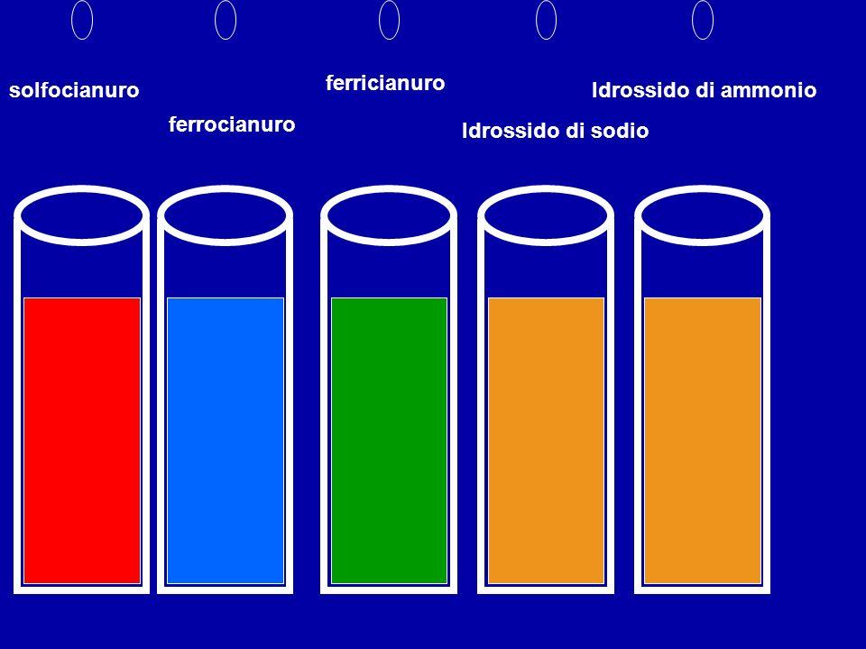 solfocianuro ferrocianuro ferricianuro Idrossido di sodio Idrossido di ammonio