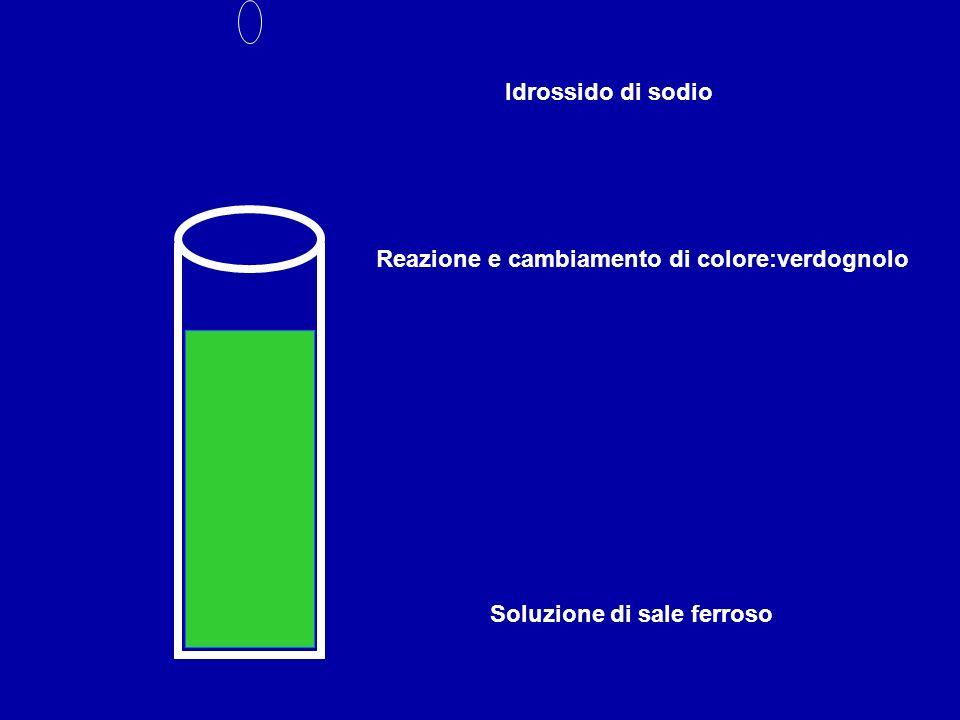 Soluzione di sale ferroso Idrossido di sodio Reazione e cambiamento di colore:verdognolo
