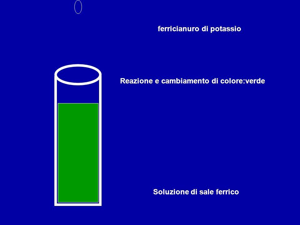 Soluzione di sale ferrico ferricianuro di potassio Reazione e cambiamento di colore:verde