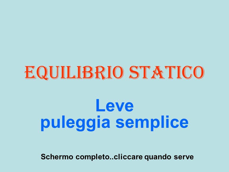 Equilibrio statico Leve puleggia semplice Schermo completo..cliccare quando serve