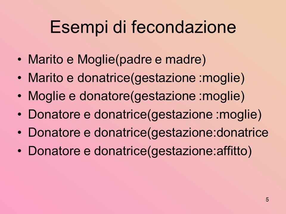 5 Esempi di fecondazione Marito e Moglie(padre e madre) Marito e donatrice(gestazione :moglie) Moglie e donatore(gestazione :moglie) Donatore e donatrice(gestazione :moglie) Donatore e donatrice(gestazione:donatrice Donatore e donatrice(gestazione:affitto)