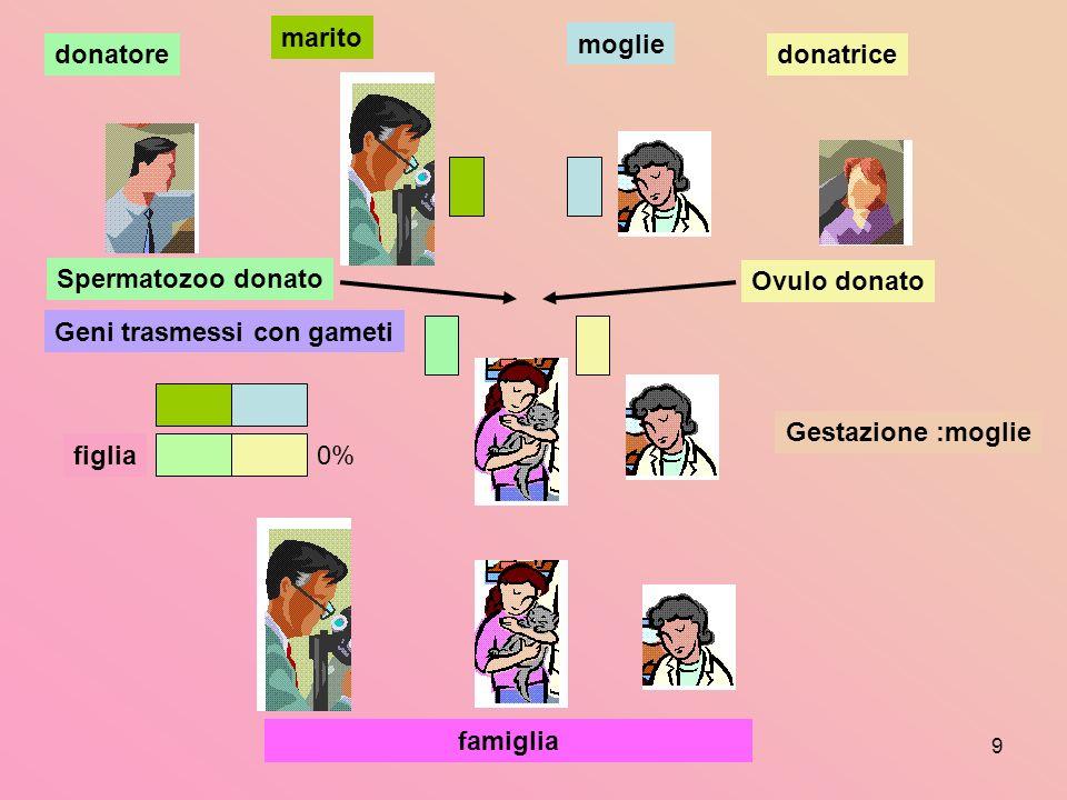 9 marito moglie famiglia Gestazione :moglie figlia Geni trasmessi con gameti Spermatozoo donato donatoredonatrice Ovulo donato 0%