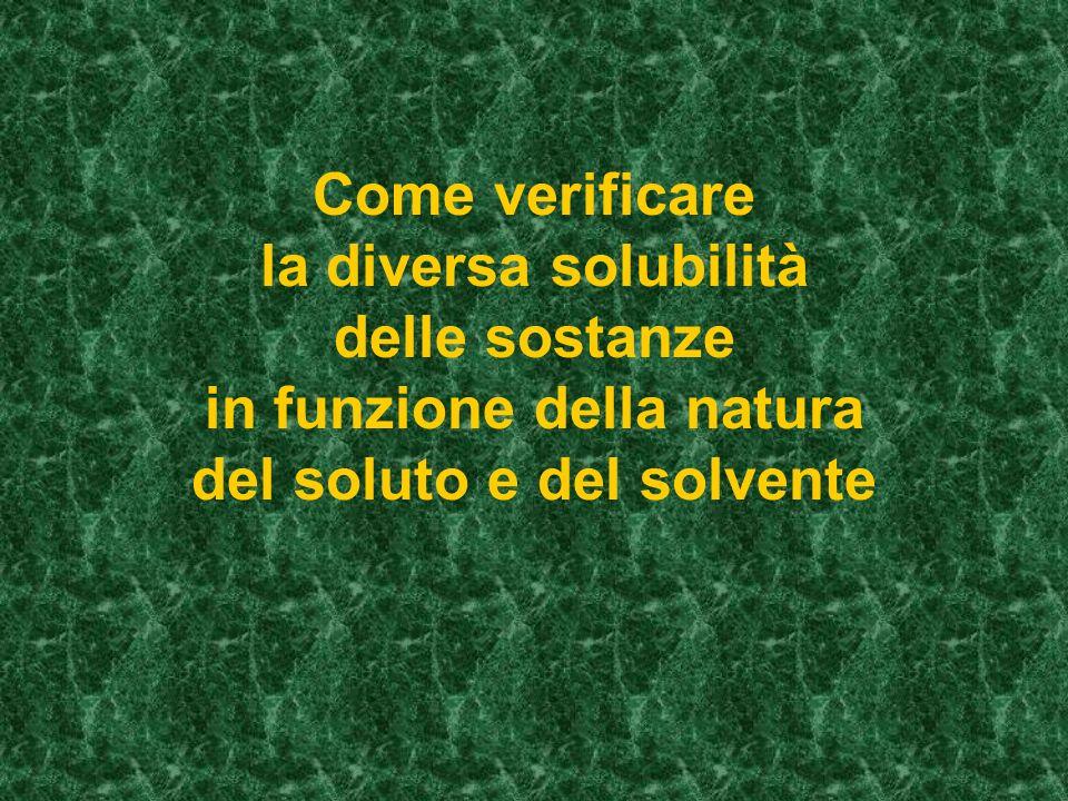 Come verificare la diversa solubilità delle sostanze in funzione della natura del soluto e del solvente