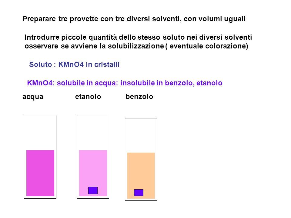 acquaetanolobenzolo Preparare tre provette con tre diversi solventi, con volumi uguali Introdurre piccole quantità dello stesso soluto nei diversi solventi osservare se avviene la solubilizzazione ( eventuale colorazione) Soluto : KMnO4 in cristalli KMnO4: solubile in acqua: insolubile in benzolo, etanolo