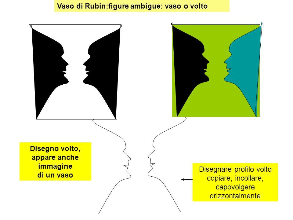 Vaso di Rubin:figure ambigue: vaso o volto Disegnare profilo volto copiare, incollare, capovolgere orizzontalmente Disegno volto, appare anche immagin