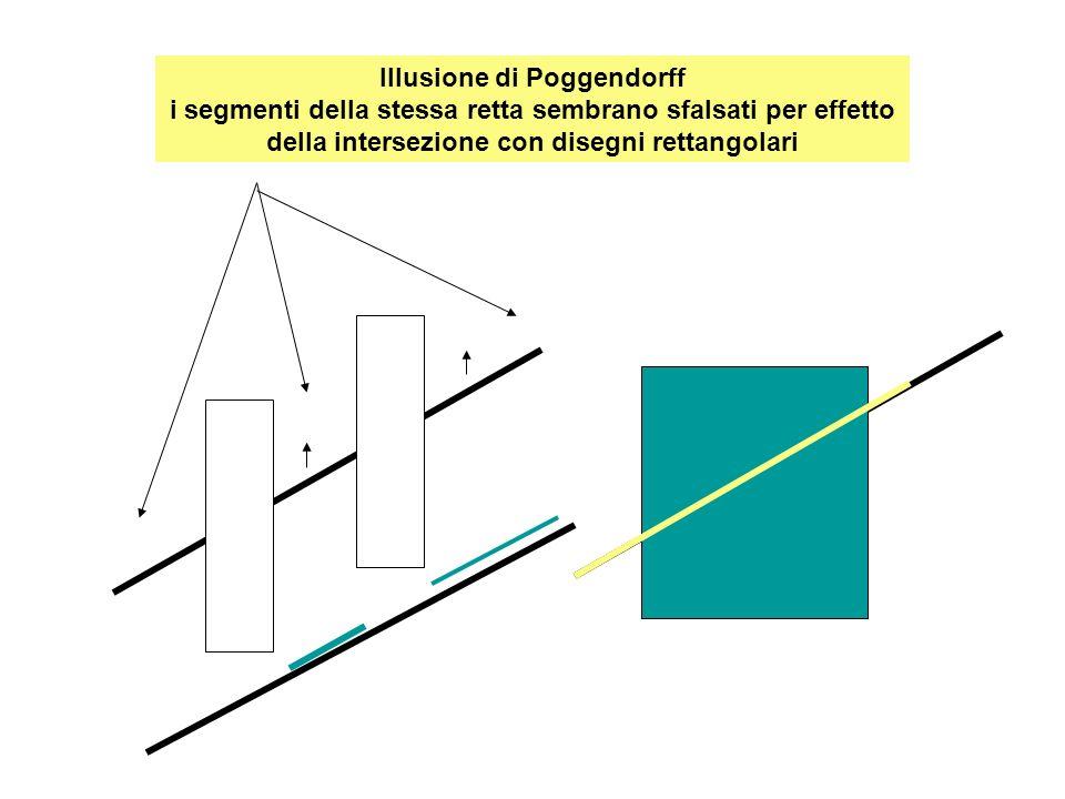 Segmenti di Ponzo : lunghezza uguale ma diversa percezione in funzione prospettica Interpretato come maggiore Interpretato come minore