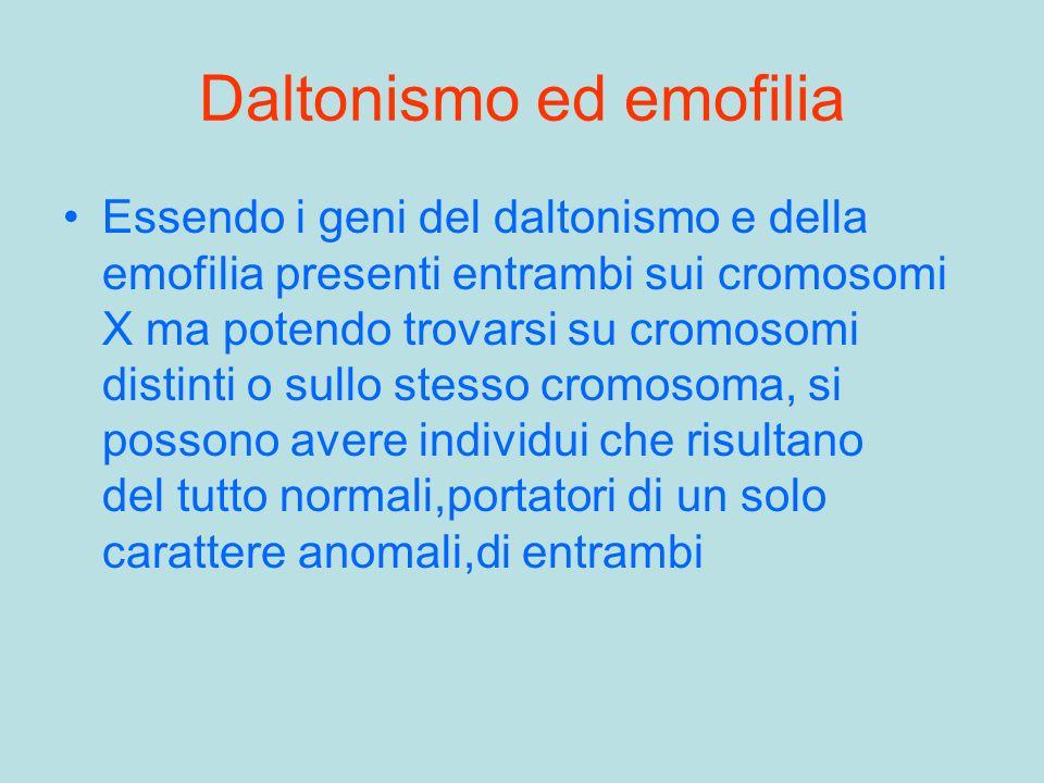 Daltonismo ed emofilia Essendo i geni del daltonismo e della emofilia presenti entrambi sui cromosomi X ma potendo trovarsi su cromosomi distinti o su