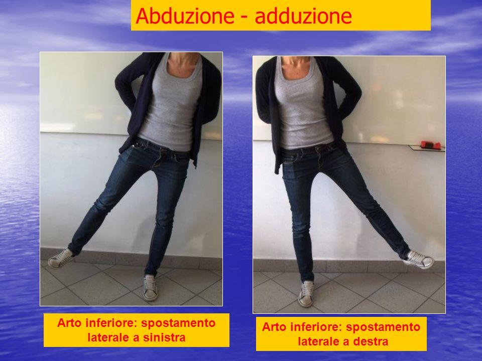 Arto inferiore: spostamento laterale a destra Arto inferiore: spostamento laterale a sinistra Abduzione - adduzione