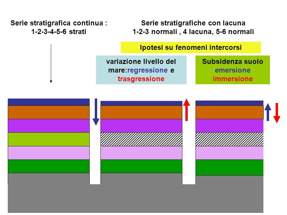 Serie stratigrafica continua : 1-2-3-4-5-6 strati Serie stratigrafiche con lacuna 1-2-3 normali, 4 lacuna, 5-6 normali variazione livello del mare:reg