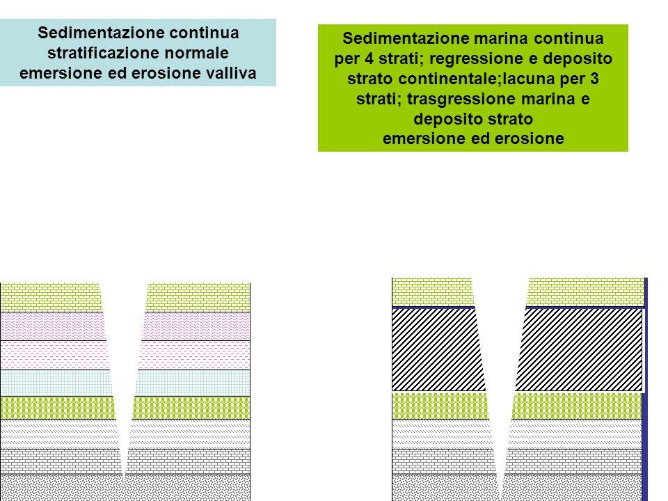 Sedimentazione continua stratificazione normale emersione ed erosione valliva Sedimentazione marina continua per 4 strati; regressione e deposito stra