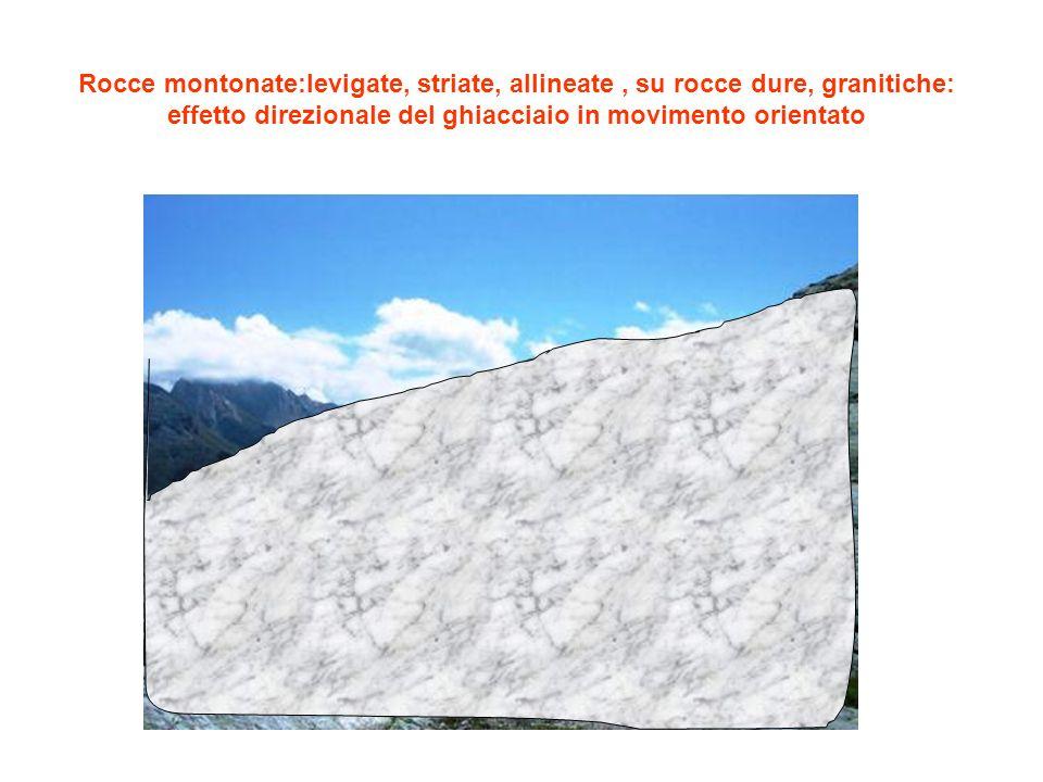 Rocce montonate:levigate, striate, allineate, su rocce dure, granitiche: effetto direzionale del ghiacciaio in movimento orientato