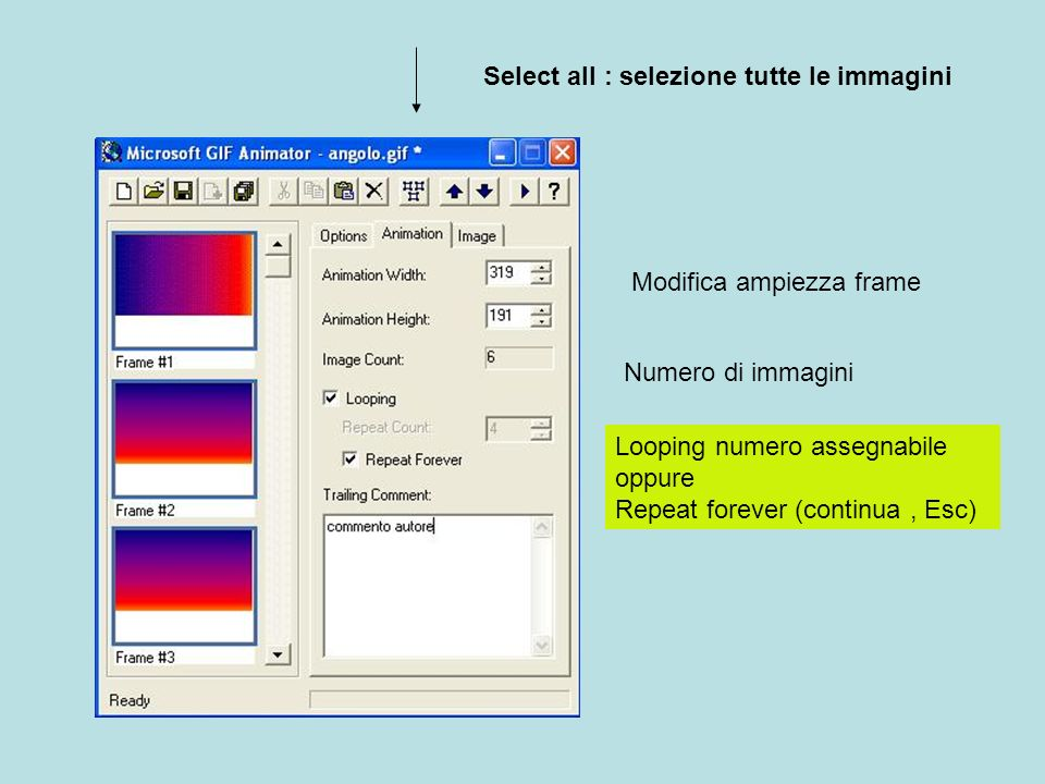 Select all : selezione tutte le immagini Modifica ampiezza frame Numero di immagini Looping numero assegnabile oppure Repeat forever (continua, Esc)
