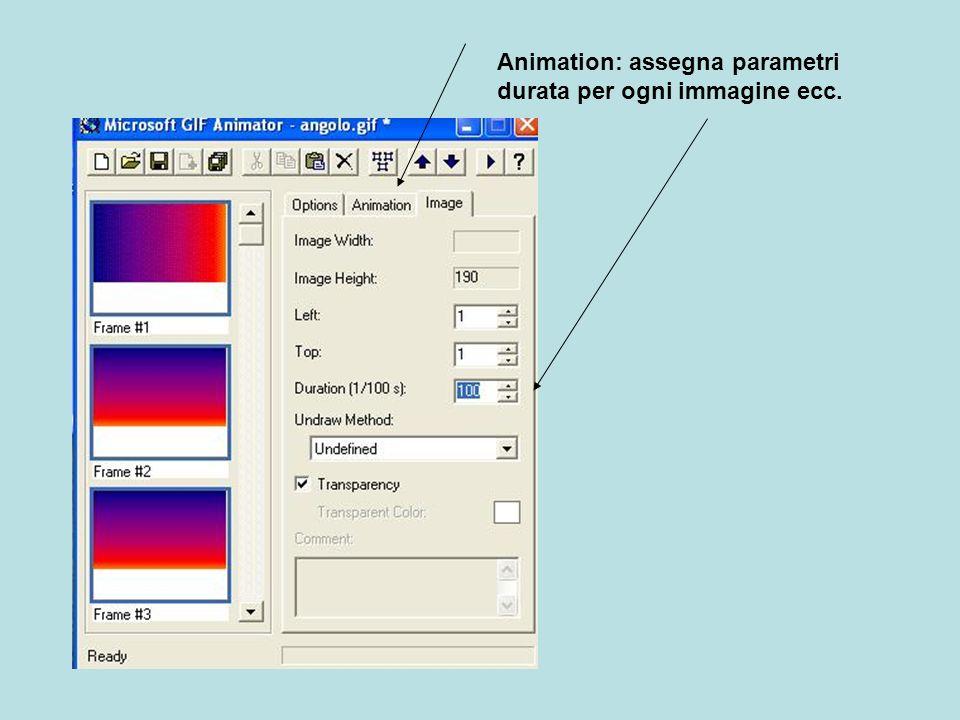 Animation: assegna parametri durata per ogni immagine ecc.