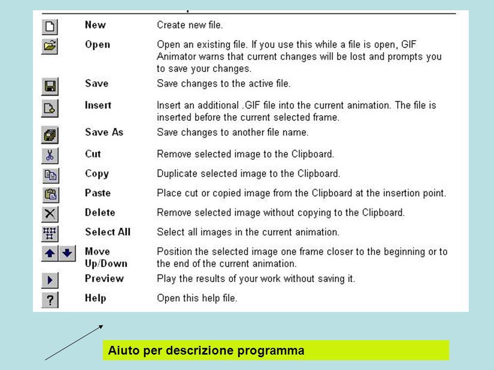 Aiuto per descrizione programma