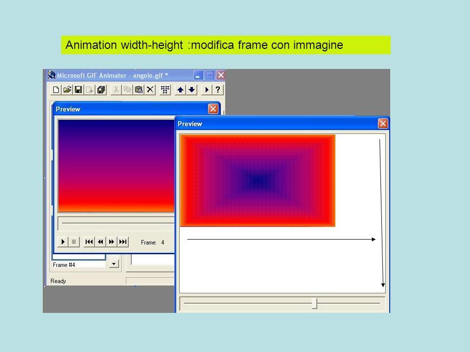 Animation width-height :modifica frame con immagine