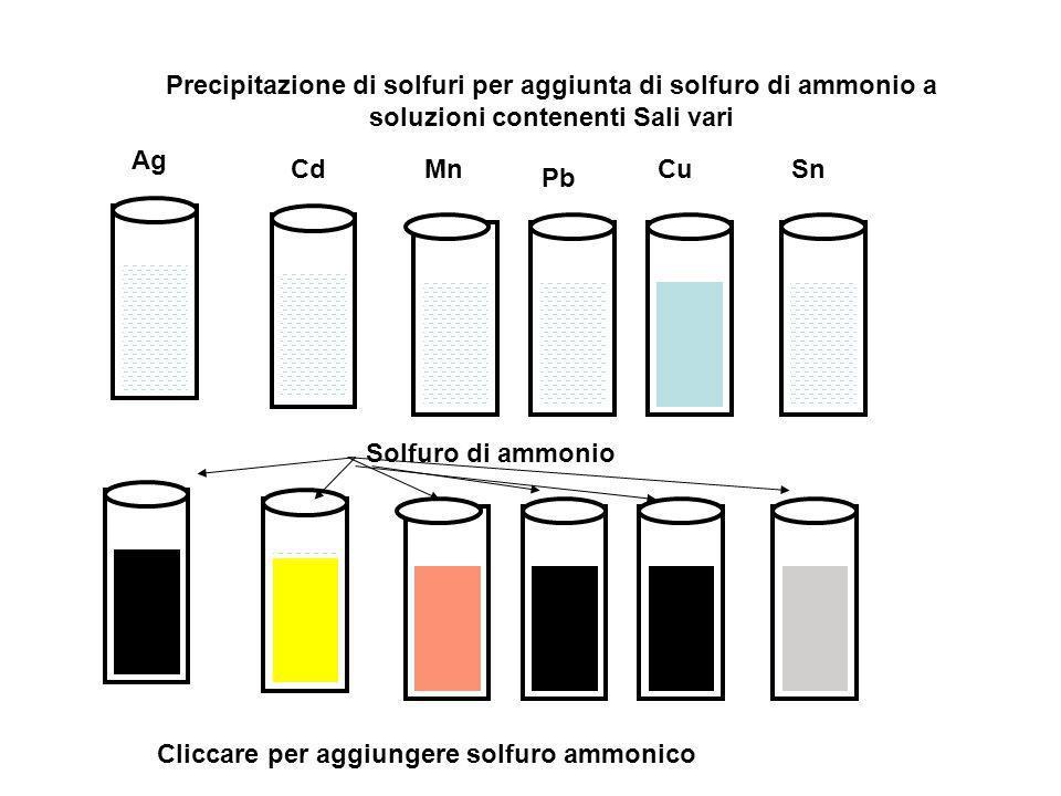 Precipitazione di solfuri per aggiunta di solfuro di ammonio a soluzioni contenenti Sali vari Ag CdMn Pb CuSn Cliccare per aggiungere solfuro ammonico