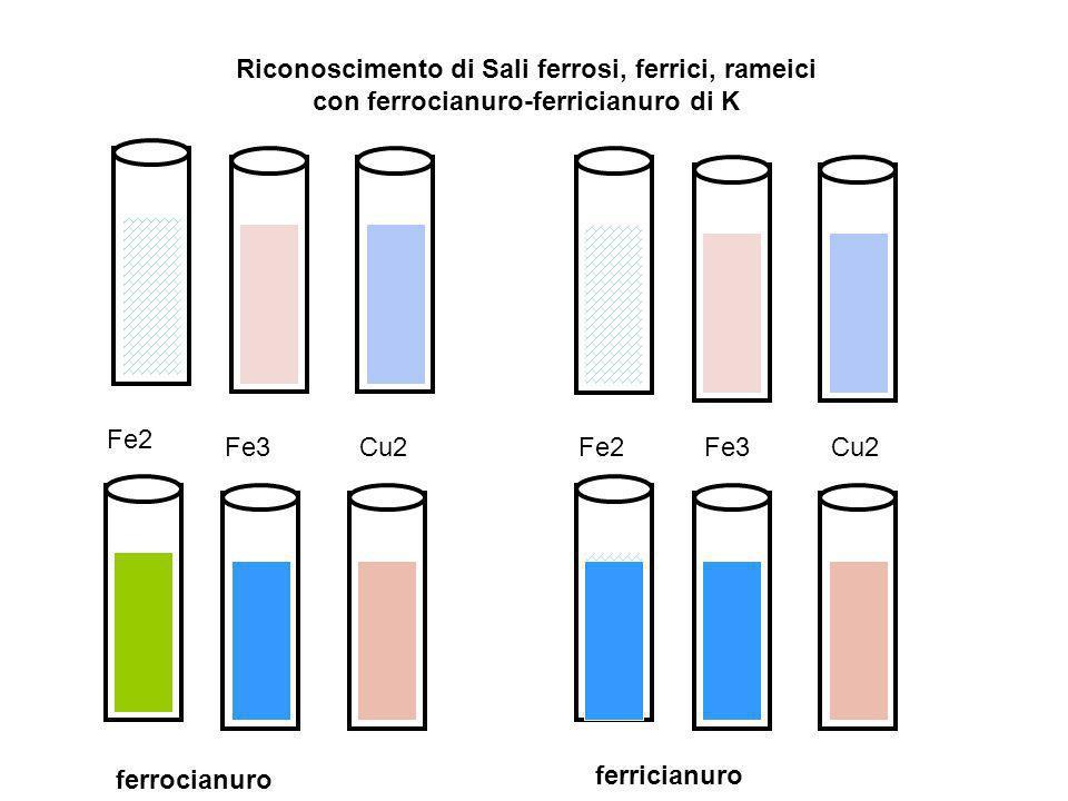 Riconoscimento di Sali ferrosi, ferrici, rameici con ferrocianuro-ferricianuro di K Fe2 Fe3 Cu2 ferrocianuro ferricianuro