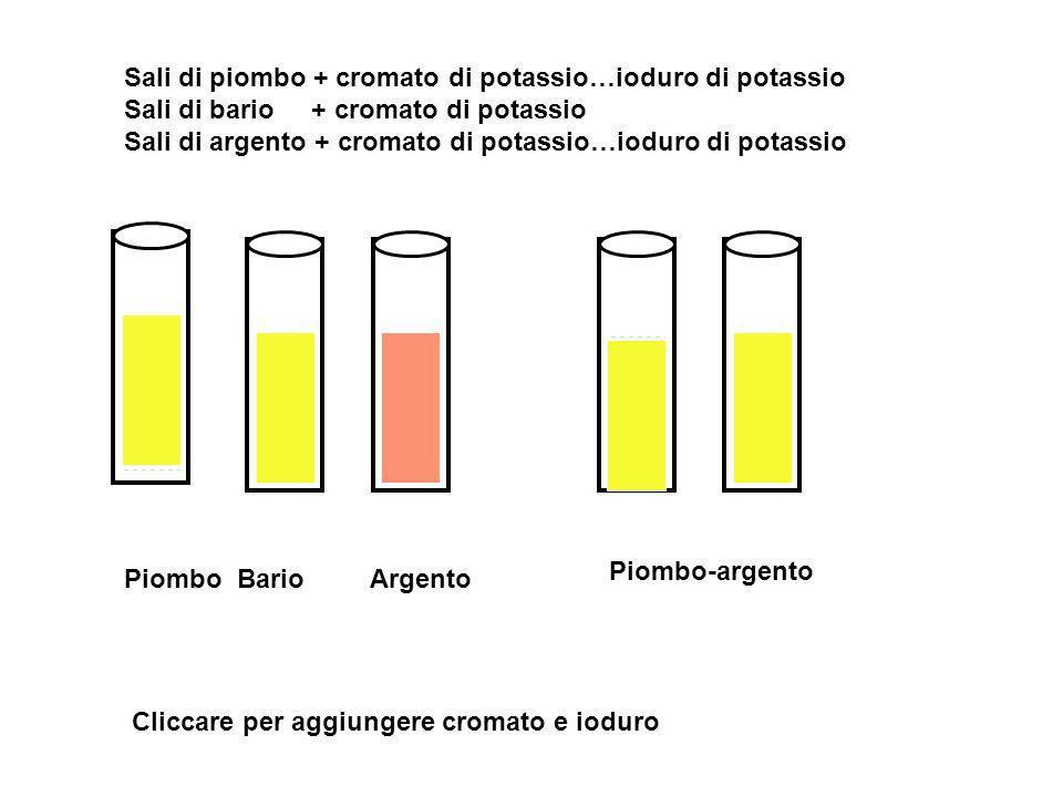 Sali di piombo + cromato di potassio…ioduro di potassio Sali di bario + cromato di potassio Sali di argento + cromato di potassio…ioduro di potassio P