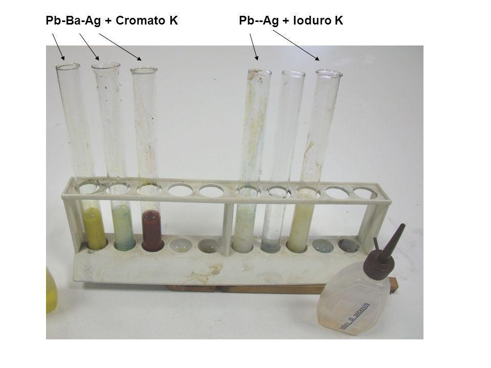 Pb-Ba-Ag + Cromato KPb--Ag + Ioduro K