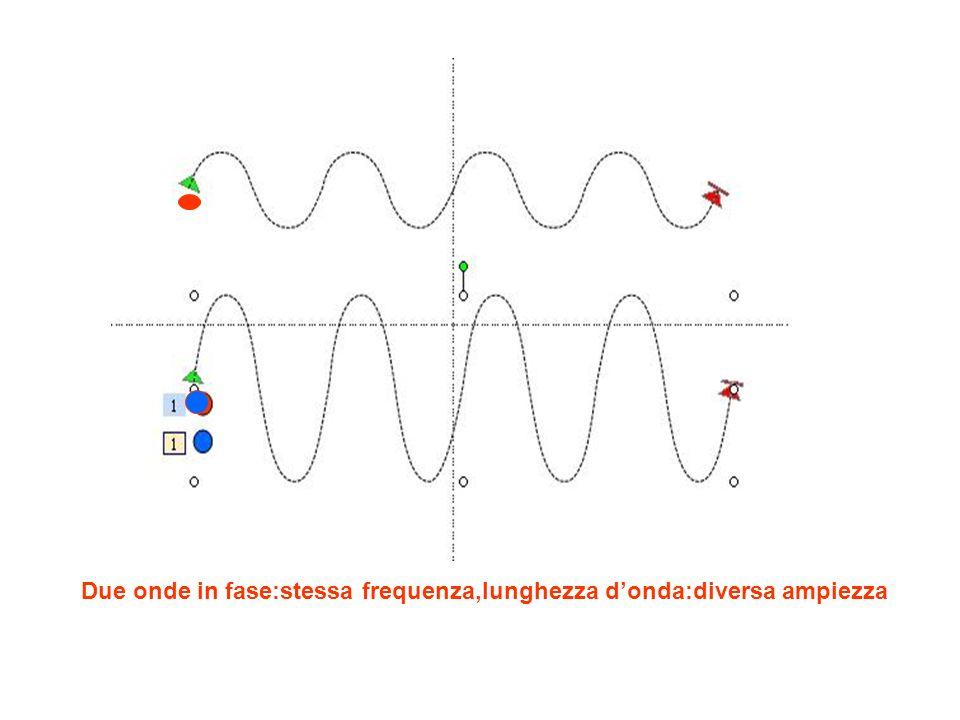 Due onde in fase:stessa frequenza,lunghezza donda:diversa ampiezza