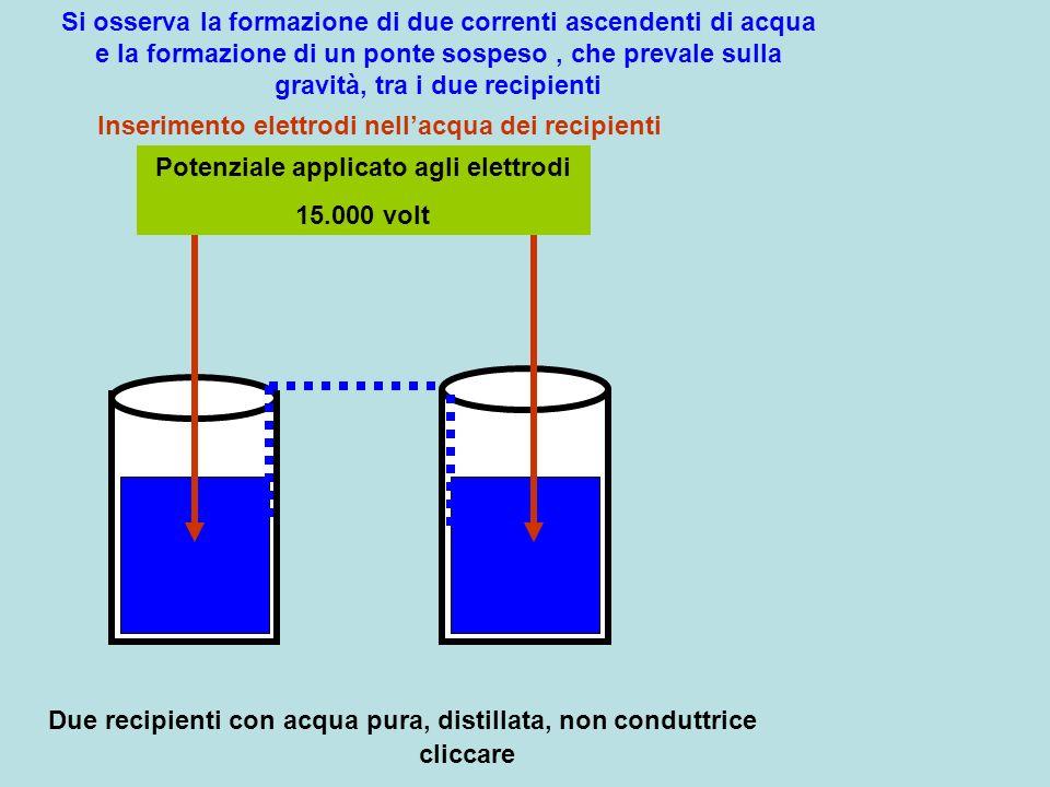 Potenziale applicato agli elettrodi 15.000 volt Due recipienti con acqua pura, distillata, non conduttrice Inserimento elettrodi nellacqua dei recipie