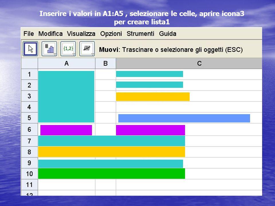 Inserire i valori in A1:A5, selezionare le celle, aprire icona3 per creare lista1