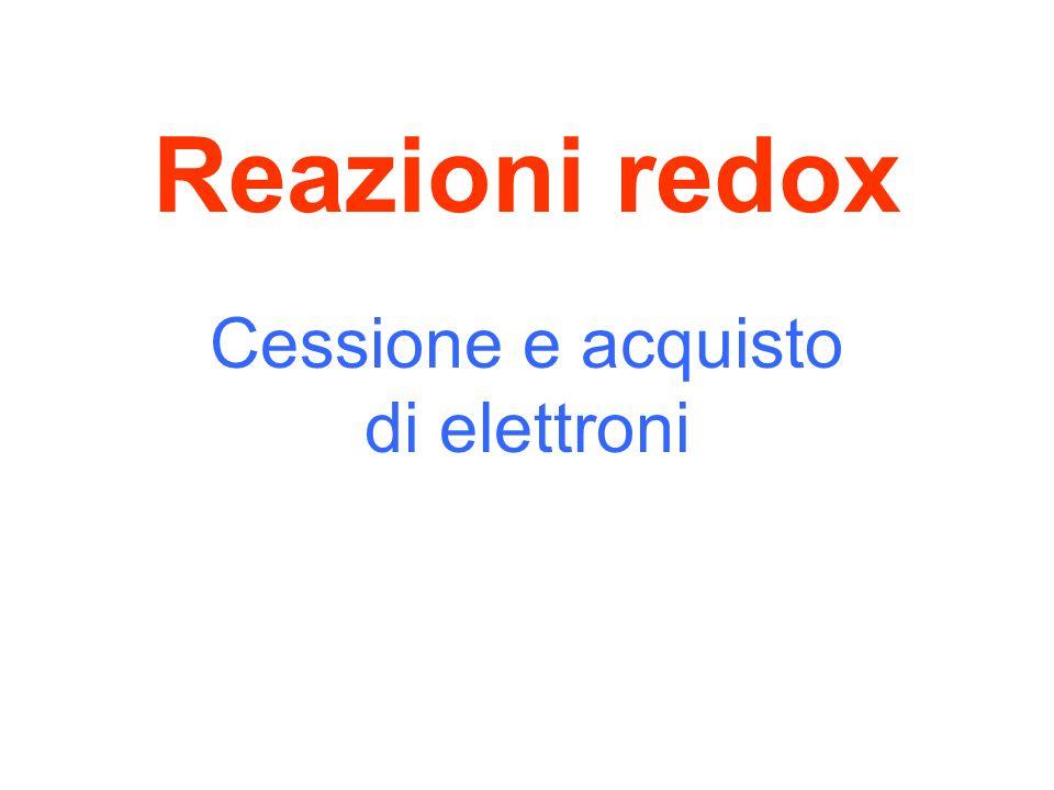 Reazioni redox Cessione e acquisto di elettroni