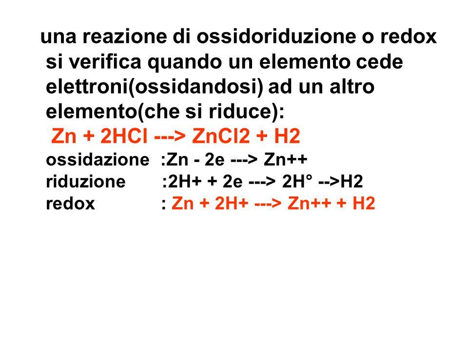 una reazione di ossidoriduzione o redox si verifica quando un elemento cede elettroni(ossidandosi) ad un altro elemento(che si riduce): Zn + 2HCl --->
