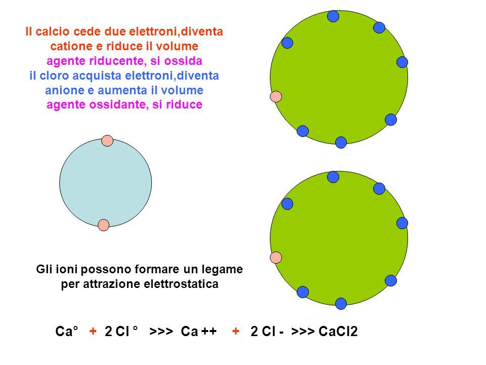 Ca° + 2 Cl ° >>> Ca ++ + 2 Cl - >>> CaCl2 Il calcio cede due elettroni,diventa catione e riduce il volume agente riducente, si ossida il cloro acquist