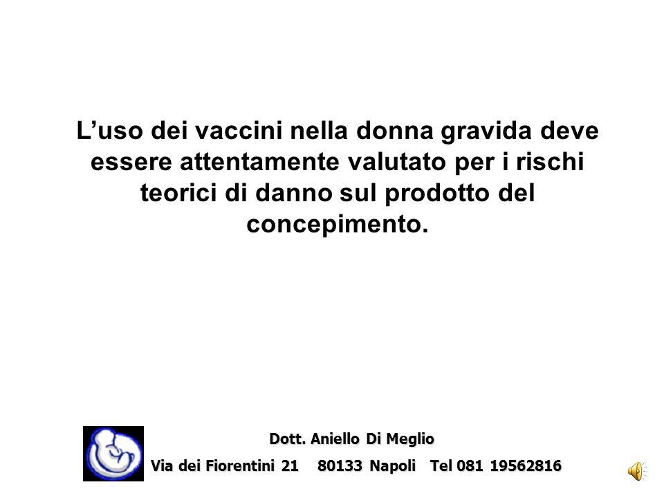Vaccinazioni in gravidanza Dott.ssa Amelia Forte Dott. Aniello Di Meglio Dott. Aniello Di Meglio Via dei Fiorentini 21 80133 Napoli Tel 081 19562816